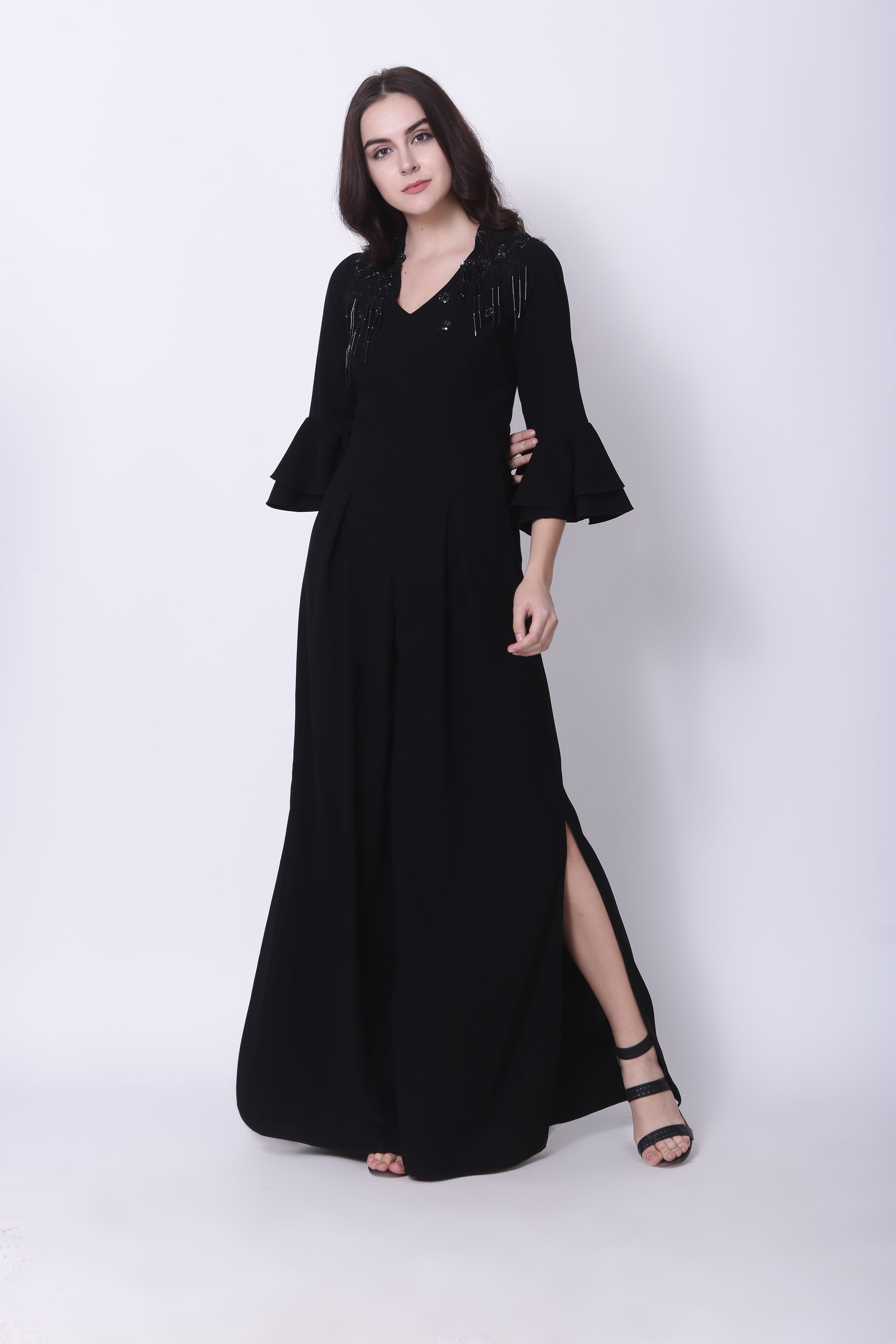 bb2244d10d2 Black Frill Sleeves Jumpsuit